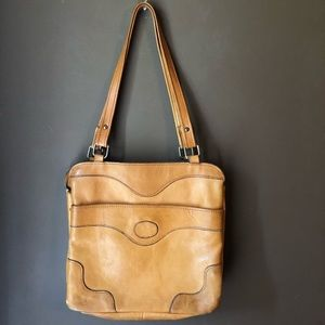Vintage • Leather Purse Camel Cognac 60s 70s boho